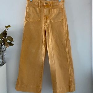 Madewell Emmett Wide-Leg Crop Pants in Yellow